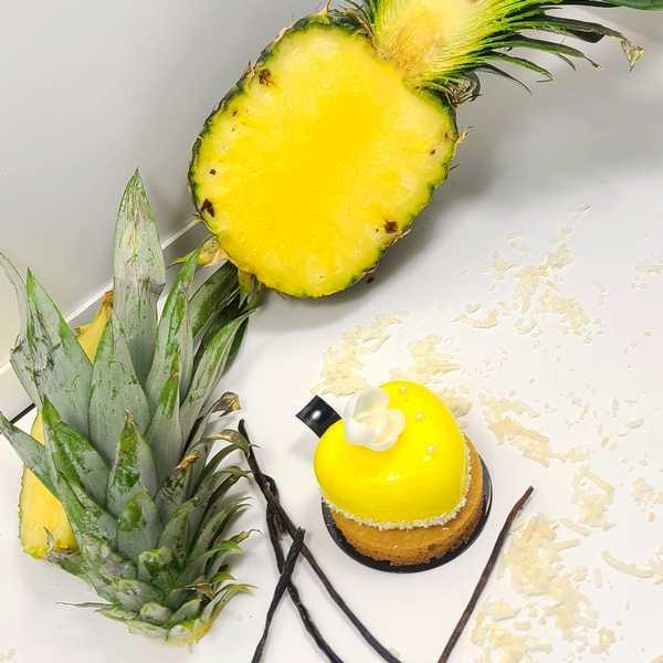 Coeur Ananas Coco Vanille Pâtisserie individuelle à commander en ligne