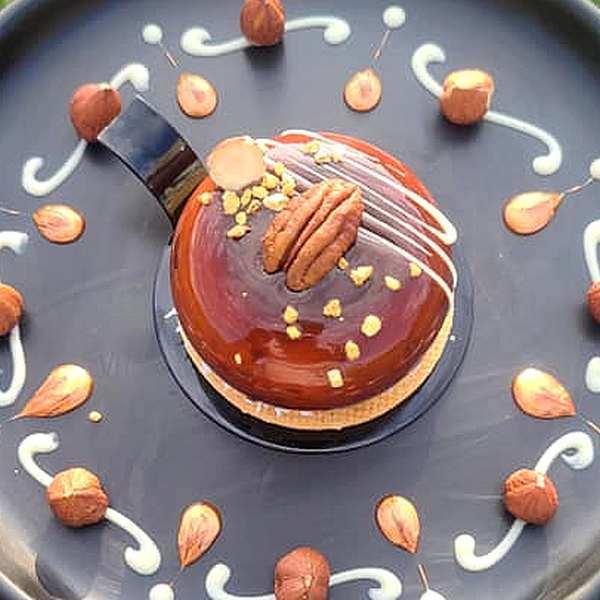 Pâtisserie individuelle au caramel au beurre salé, CARAMELO, livré à domicile 75 77 92 93 94 95