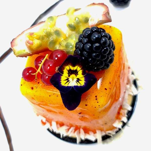 Exotic coulant, pâtisserie aux fruits exotiques et chocolat blanc à commander en ligne